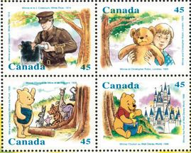 Winnie the Pooh in canadian postal stamps