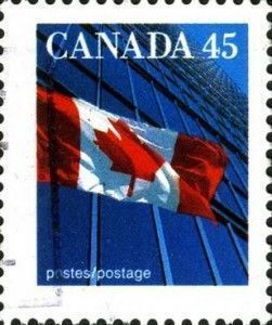 Canadian flag in postal stamps. Postal stamps: bees and bumble bees in Canada and USA
