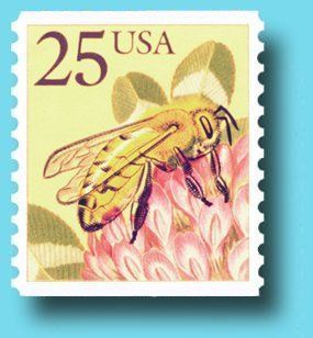 Postal stamp with honey bee