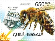 Guinea Bissau Postal stamp with bees