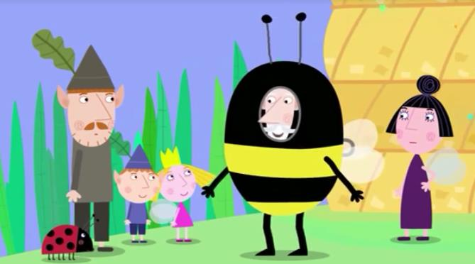 Characters of Ben and Holly. Ben and Holly visit the bees