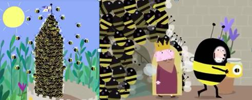 Swarm get their honey. Ben and Holly